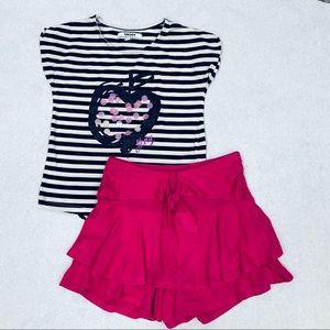 Dkny girls shorts skirt set
